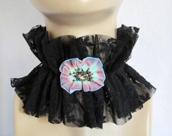 Black Ruffle High Collar, Queen Collar, Neck Ruff Collar Choker, Renaissance Accessories,Black choker,Black lace neck ruffle collar