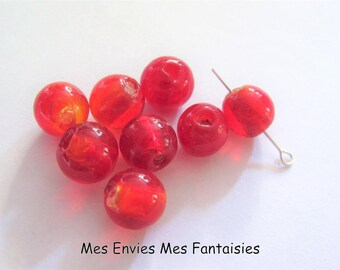 8 hole 12mm red Round Lampwork beads + /-1 mm