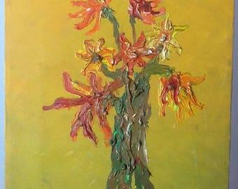 Flores de verano   , pintura al óleo sobre lienzo de algodón en bastidor