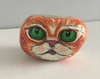 hand painted rock, painted stone, hand painted pebble, cat painted on rock, cat pebble, paperweight; unique gift