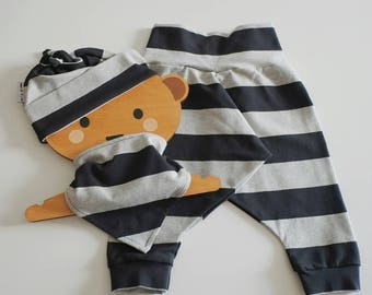 Baby Outfit - Organic Baby Outfit - Coming Home Outfit - Baby Boy Outfit - Take Home Outfit - Organic Baby Clothes - Harem+Hat+Bib Set