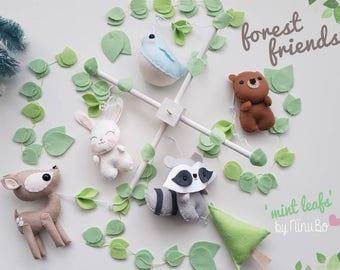 Forest Baby Mobile - Woodland Mobile - Cot Mobile - Crib Mobile - Felt Mobile