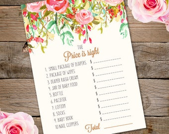 Whimsical Baby Shower Price is Right Game - Printable Instant Download - Watercolor Flower Price is Right Baby Shower Game