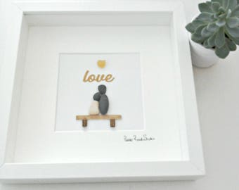 Pebble Art ~ Soulmates Pebble Picture ~ Couple Pebble Picture ~ Engagement Gift ~ Wedding Gift ~  Soulmates Anniversary Gift ~ Framed Gift