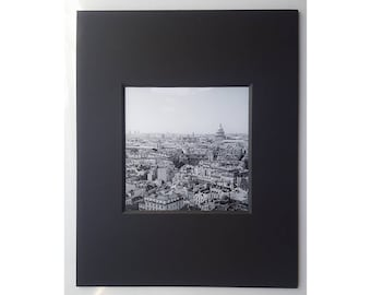 Paris Square Panorama, Fine Art Photography, Archival Paper, pH neutral Mat, Black and White, Paris Architecture, 8x10 Matted Print Wall Art