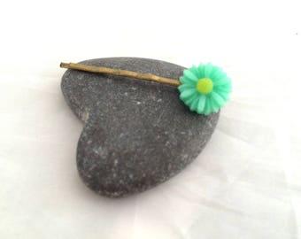 Flower Daisy green - Bronze hair clip
