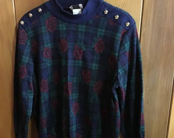 Vintage 1980s Medium Cricket Lane Plaid Sweater With Roses and Gold Button Epaulettes