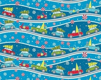 Sale Dark Blue Street Scene from the Mulberry Lane Collection by Cherry Guidry for Contempo Studios, Christmas Fabric