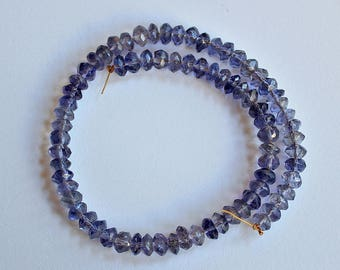 Natural Iolite Faceted Rondelle Loose Beads 5.5mm, Natural Iolite Beads, Semi precious Gemstone Bead, Full Strand, Wholesale Beads
