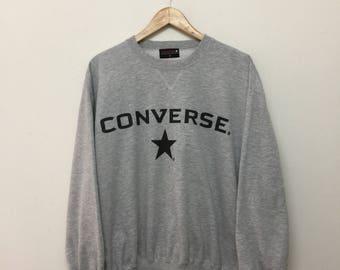 Converse Sweatshirt/Converse Crewneck Pullover Sweatshirt/Big Logo Spellout/Heather Grey/Size XL
