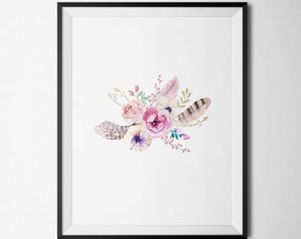 Bohemian Floral Bouquet Printable Pink Floral Nursery Decor Tribal Girl Nursery Decor Feathers Boho Floral Wall Art Boho Tribal Decor
