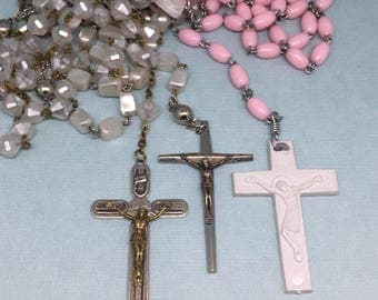 Vintage Rosary Necklaces Religious Charms Rosary Beads Icons Silver Tone Jewelry Blessed Mary