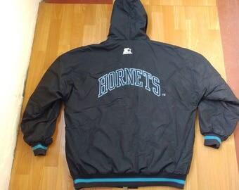 NBA Charlotte Hornets jacket, basketball jacket, vintage nylon jacket, old school Starter jacket 90s hip-hop clothing, 1990s hip hop size XL