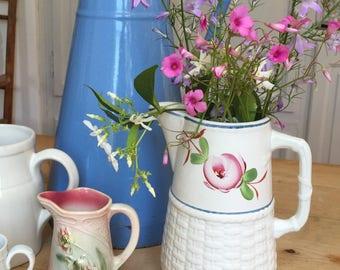 Vintage French Pitcher. Antique Floral Jug. Pretty old Jug. Pexonne Pottery.