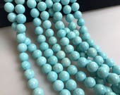 Light Blue Turquoise Gemstone Smooth Round Loose Beads 8mm/10mm Approximate 15.5 Inches per Strand. R-S-L-TUR-0346