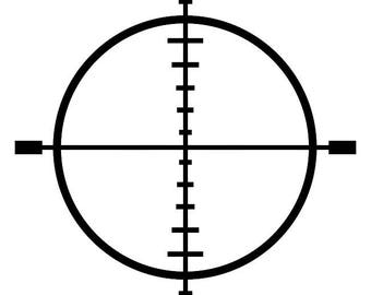 405- Crosshairs Scope Any Size or Color Custom Cut Vinyl Decal Sticker - Free Shipping