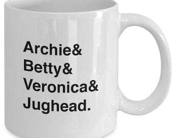 RIVERDALE - ARCHIE Comics Character Names Mug - TV Show Fan Gift - Archie Betty Veronica Jughead - 11 oz white coffee tea cup