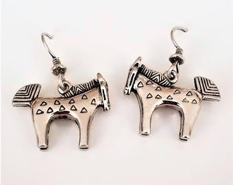 Rare Laurel Burch Silver 3D Horse Charm Earrings, HTF