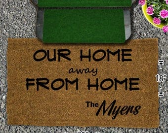 Our Home Away From Home Coir Doormat - 18x30 - Welcome Mat - House Warming - Mud Room - Gift - Custom - Home Decor - Camping - Campsite