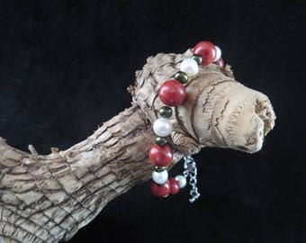 """sea treasure"" bracelet with coral beads and freshwater pearls"