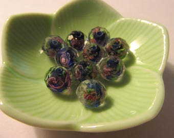 Multi-Faceted Royal Blue Lampwork Beads with Roses, 10mm, Set of 5
