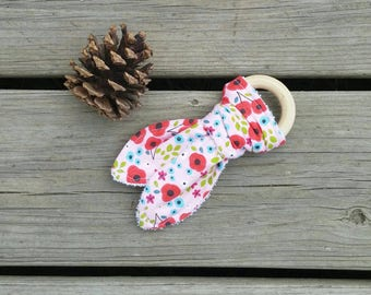 Wildflower Forest Floral Pink and Colorful Wild Child Bunny Ear Terry Cloth Teether with Natural Wooden Teething Ring