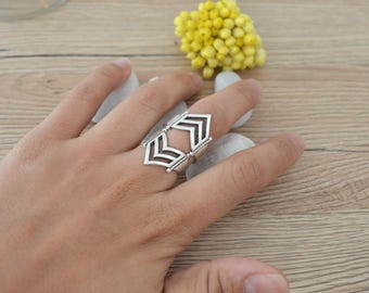 Bohemian Silver Geometric Armor Knuckle Midi Pinky Ring, Silver Stackable Geometric Ring, Silver Adjustable Geometric Ring, Gift for Her