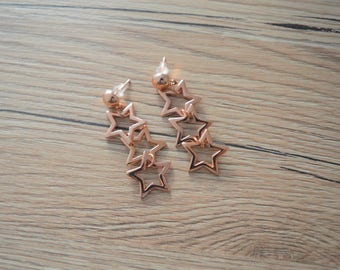 Rose Gold Hollow STAR earrings, Rose Gold dangling drop earrings, Rose Gold Stud Earrings, Bohemian Rose Gold Bridesmaid Earrings