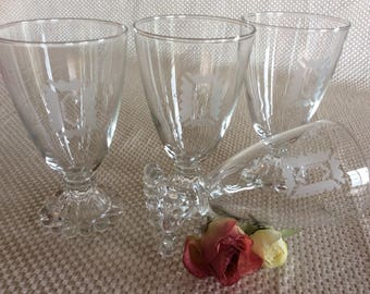 Vintage 4 anchor Hocking Boopies glassware 8 oz Crown etching C monogram