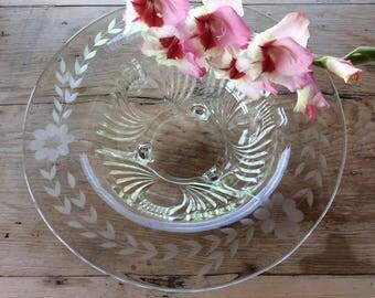 Antique 1930 Paden City Maya pattern with cornflower etching console center piece bowl