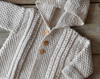 Beige hooded jacket with cashmere, baby from 3 months