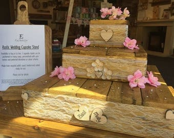 Cup cake stand 3 tier rustic wedding