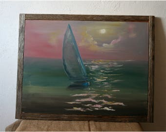 """FREE SHIPPING, Sail boat on the smoke sea at sunset, Oil painting 17.5x23.5"""", Framed in Reclaimed Wood, Ready To Hang, Original oil painting"""