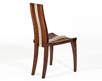 """Dining Chair Modern, Solid Walnut Wood, Handmade, Carved, Dining Room, Kitchen, Dining Set, Side Chair, Comfortable, Curly Maple, """"Gazelle"""""""