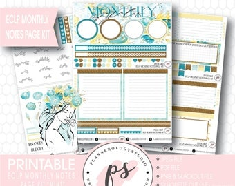 Mint Monthly Notes Page Kit Printable Planner Stickers (for Erin Condren ECLP) | JPG/PDF/Silhouette Cut File/Blackout Files