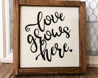 Love Grows Here Wood Sign - Farmhouse Decor - Framed Sign - Home Decor - Rustic Decor