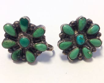 Vintage Native American Indian Turquoise Silver Earrings