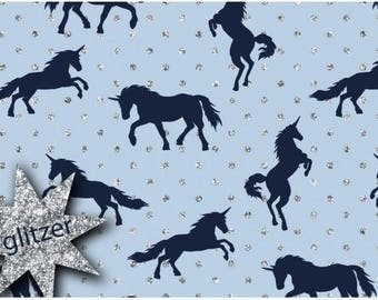 Navy Unicorn in Glittery dots Blue Cotton Jersey
