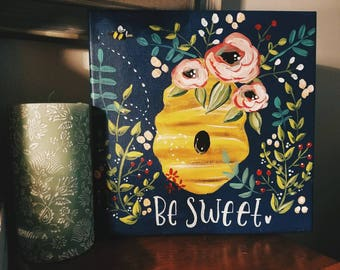Be Sweet Floral Bee Hive Canvas // Bumble Bee Art // Beehive Art // Gallery Wall Decor