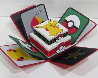 Happy Birthday to you Pokemon   handmade 3D Explosion Box Card made w/ Stampin Up items card ILOVEMOM07 Greeting Card