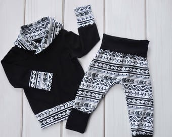 Grow with Me Harems, Monochrome Aztec Pants, Toddler Hoodie, Cowl Sweater, Kids Clothes, Toddler Outfit, Baby Shower Gift, Gender Neutral