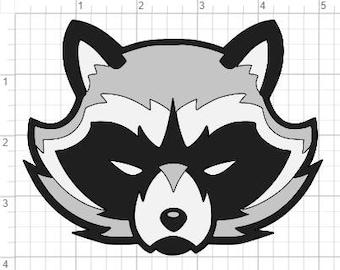 Raccoon Face Design SVG PDF EPS Dxf & Studio 3 Cut Files
