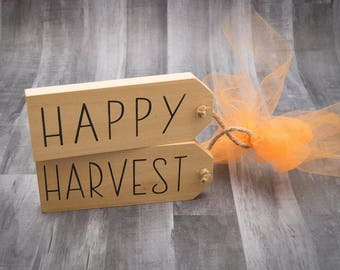 Fall Decor For Front Door | Happy Harvest | Hanging Door Tags | Door Hangers | Fall Decor For Porch | Fall Decor | Wooden Fall Sign