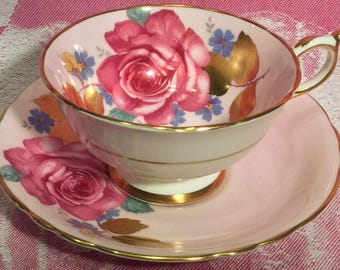 Pretty in Pink-Stunning Paragon Rose and Gold Leaf Pedestal Teacup and Saucer