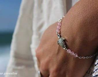 Natural pearls, pink agate, turtle, gift idea bracelet mother of grand mothers, Easter