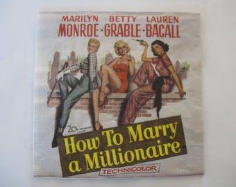 Monroe napkin; Grable; Bacall