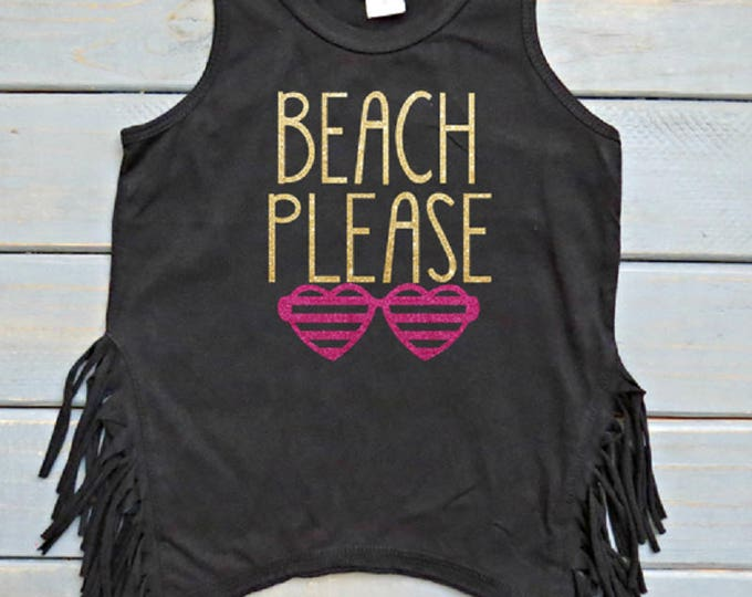 Beach Please Fringe Tank, Beach Tank, Funny Girls' Shirt, Summer Tank, Gifts For Girls