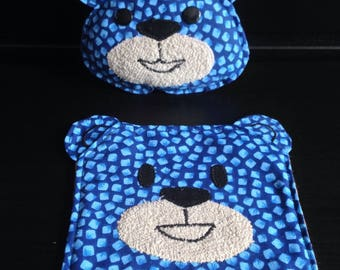 Rattle and little flat plush bear set