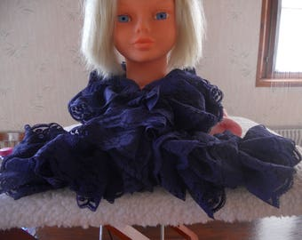 Hand crafted Navy lace ruffle scarf