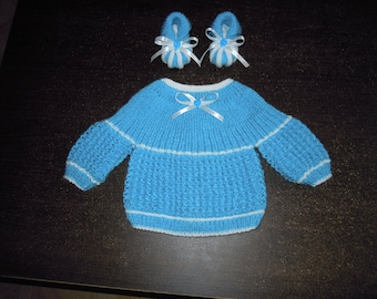 set top and newborn hand knitted booties